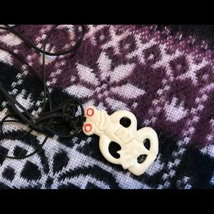 Vintage Bone Chinese Lucky Frog Pendant
